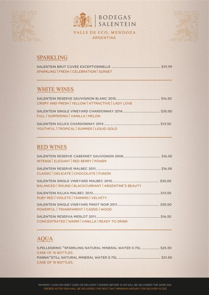 WINE LIST SALENTEIN QVILLAS Achterzijde A5
