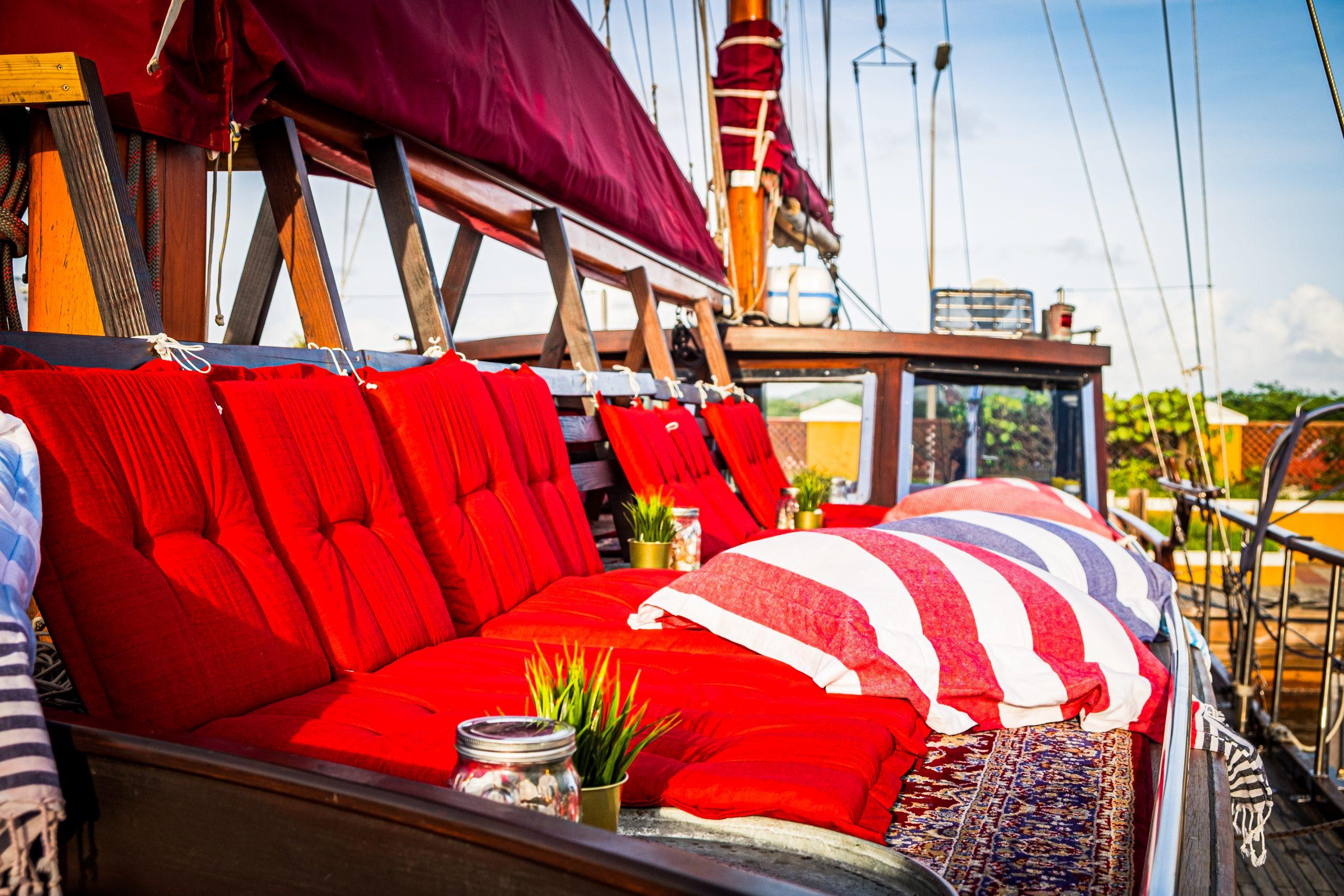 Melisa Sailing red sun beds in sun