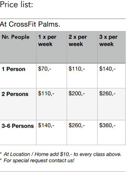 CrossFit Palma price list basedon group size and frequency